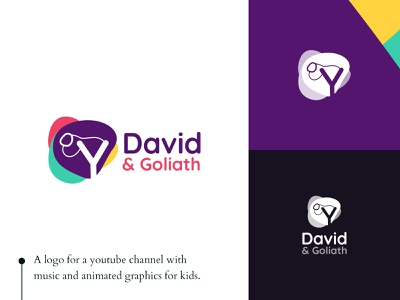David and Goliath Logo Design vector branding illustration design colorscheme slingshot sling asymmetric irregular shapes logo green purple magenta yellow red colors
