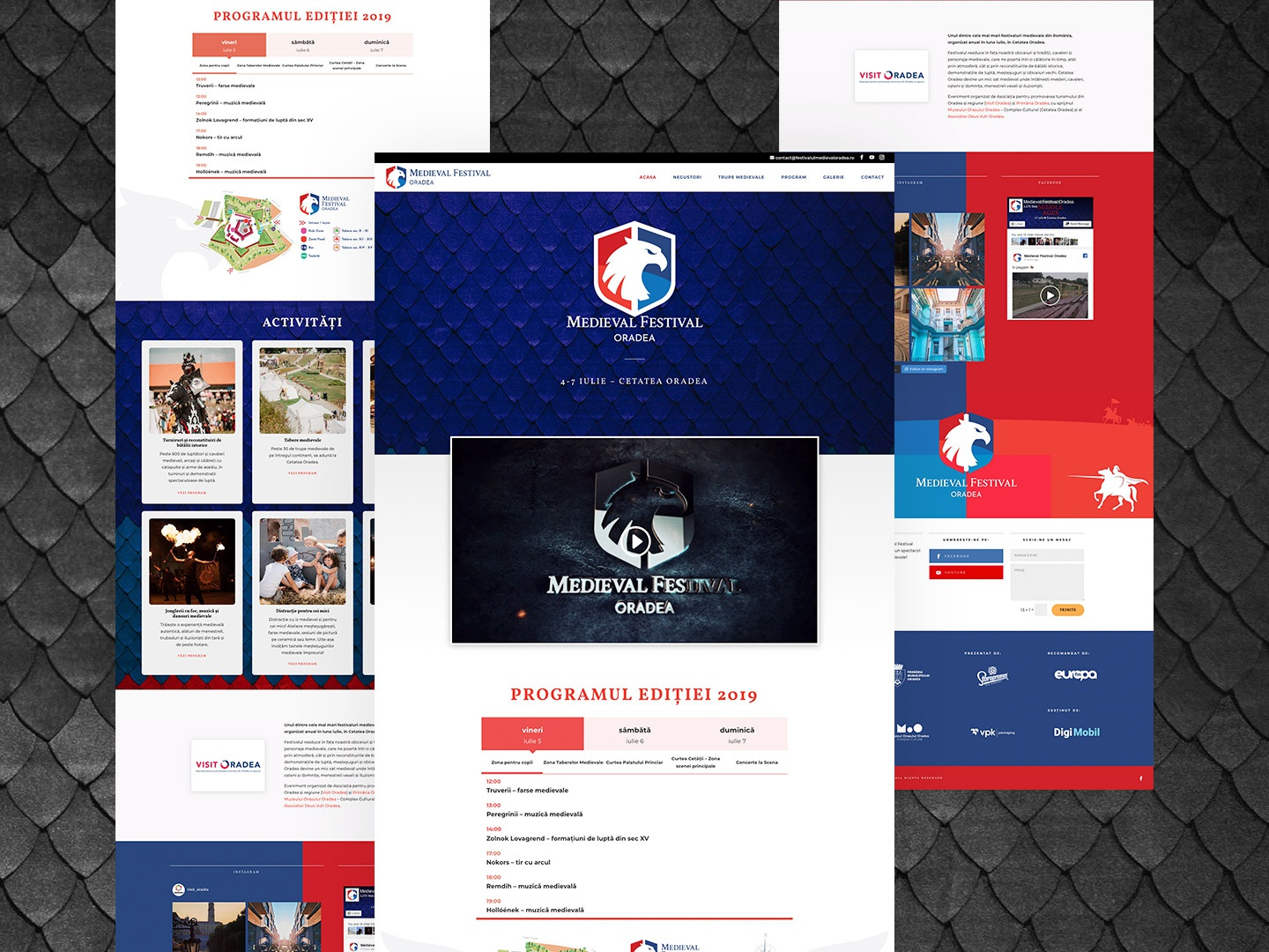 Medieva Festival Oradea Web Design simple ux illustration gradient typography colors design ui  ux ui landingpage landing pages landing page video logo red blurred blue medieval webdesign web