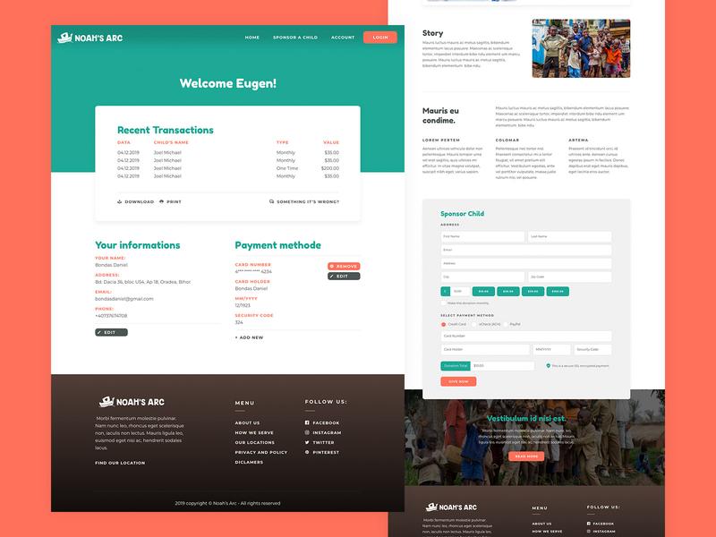 Account Profile Website Design colors minimalist clean simple designer form cta donations africa kids gradient round bourder orange red green profile account design