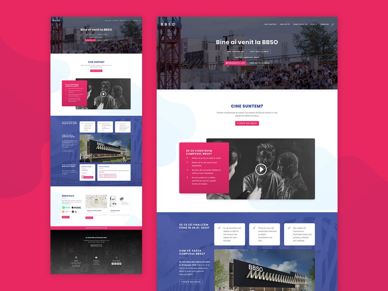 BBSO Church Homepage Website Design section border round gradient shapes simple building red pink blue hompage html css html designer homepage design website oradea bbso