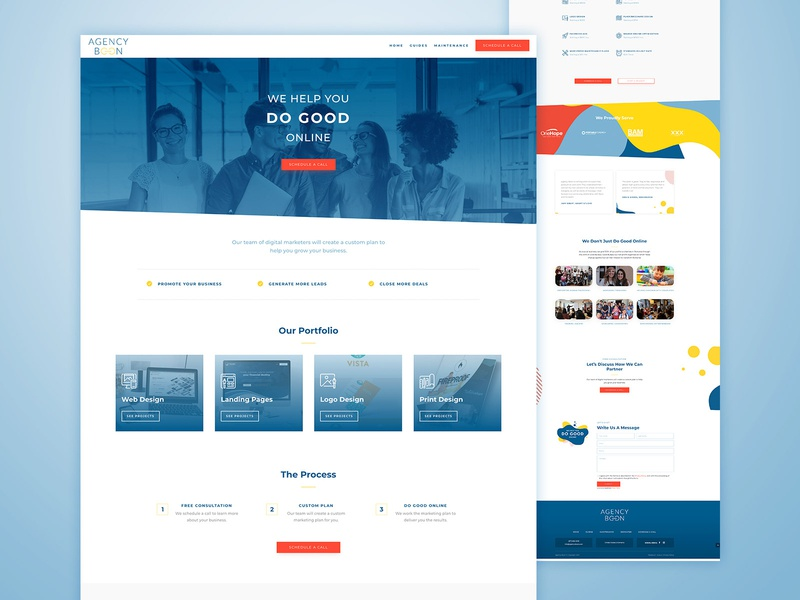 Agency Boon Homepage Design minimalist blueprint sets icons pallet people icons colors shapes pattern logos good steps process services cta button photo people gradient blue