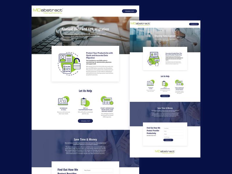 Landing Page Service Design black gradient design clean simple colors text logo icon minimalist photo blue green services color