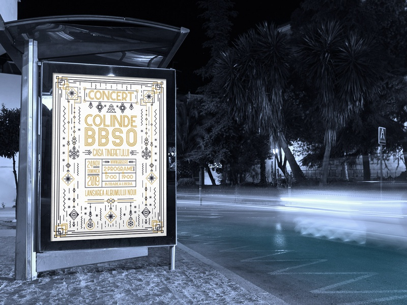 BBSO Christmas Carol Event Poster Design illustration photoshop station billboard street posters poster art poster gradient colors design minimalist clean simple