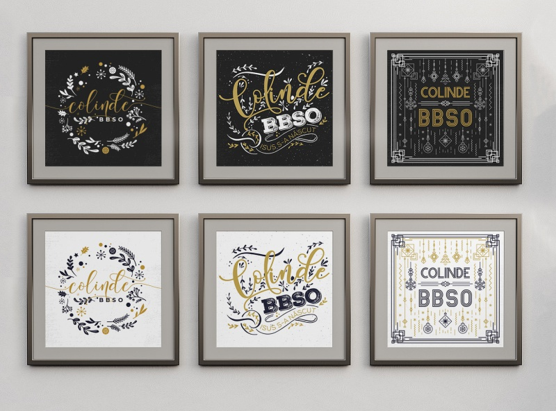 BBSO Christmas Event Style Options concept icons scandinavia rustic classic typeface blackandwhite black  white options typogaphy drawing flat logo typography black colors design minimalist clean simple