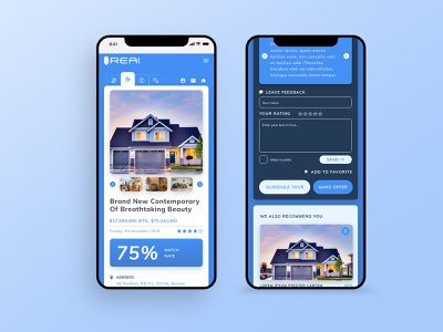 Real Estate Artificial Intelligence Platform UX/UI Design Mobile white logo typography workflow wireframes ux ui structure simple research minimalist graphics gradients gradient clean blue artificial intelligence ai