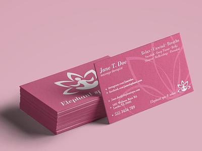 Spa & Wellness Business Card print banner stationery lotus cards business card pink wellness massage spa .psd template