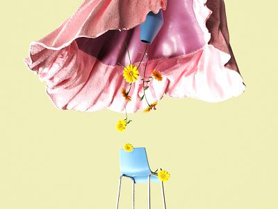 Flowering Down tea time colors flower cloth minimal redshift plant 3d cinema4d