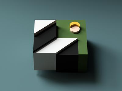 Moon & Stairs minimal render blocks cube colors c4d cinema4d 3d
