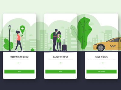 Sage rider for Android for rider onboarding screens cab taxi booking app taxi app android mobile app minimal ux ui design
