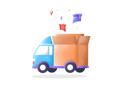 Delivery truck art illustrations pin location tracking tracking app parcels delivery app delivery service delivery truck icon typography web logo branding boy design ui plants illustration