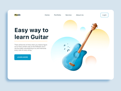 Guitar landing page mjdesign manoj jadhav drawing sketch art plant boy illustrator illustration procreate vector branding web app music ui uiux landingpage landing guitar
