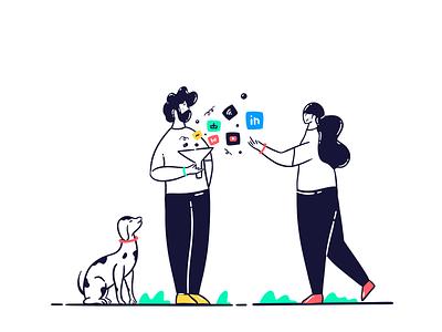 Social media funnel drawing procreate webdesign man girl icon logo ux vector illustration art line illustration lineart illustrator illustraion funnel marketing media social