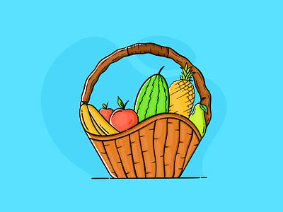 Fruit basket popular on dribbble popular dribbble fun procreate vector ux ui design illustrator art illustration corona doodles basket fruit