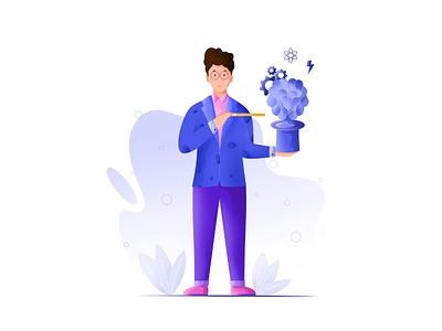 Knowledge sharing animation motion graphics 3d graphic design magic stick glow magic branding logo design vector plants man art illustrator procreate illustration knowledge