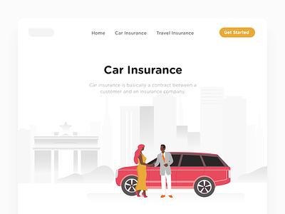 Car Insurance african building ghana woman man land rover car. insurance landing page ui illustration