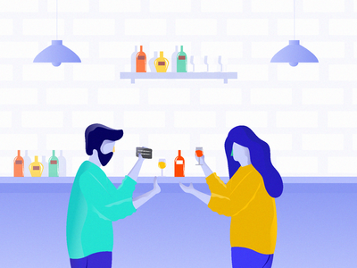 friends in bar counter payment lamp wine glass wine bar drinks friends bar