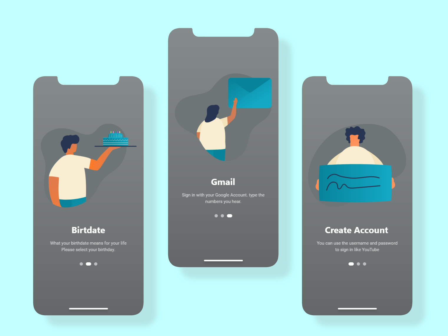 Onboarding Screen create account name birthday gmail illustration ux  ui ui onboarding screen onboarding