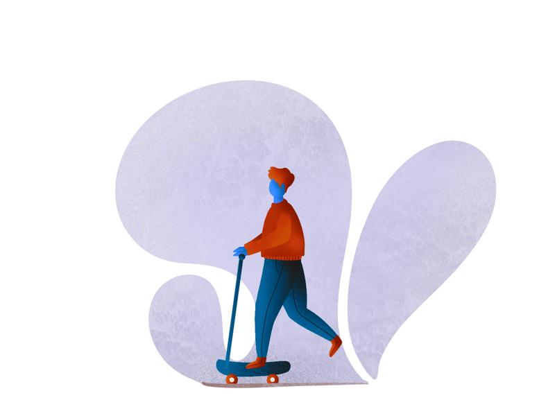 Skating illustration plants man skate procreate illustration skating
