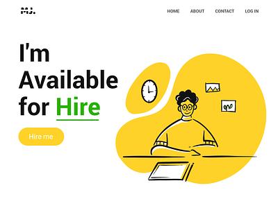 Freelancer design man web uiux design page landing illustration available for hire illustrator freelancer