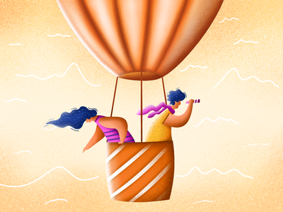 Hot air ballon riding find searching fun textures grain drawing procreate illustration characters clouds telescope boy balloons hot air ballon