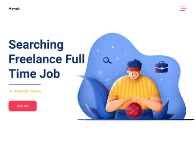 Available for hire plants ui ux landing page branding illustration art design logo vector searching dribbble ball dribbble available full time job hire