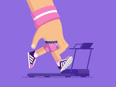 Fast Fingers treadmill sweet sneakers runner running hand illustration animento gif motion motion graphics animation