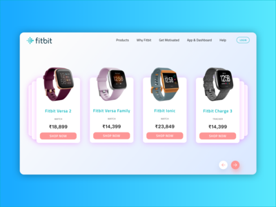 Fitbit Product Page Redesign tracker fitness tracker fitness app smartwatch watches screen homepage website concept fitbit product website design ux landingpage ui app minimal design