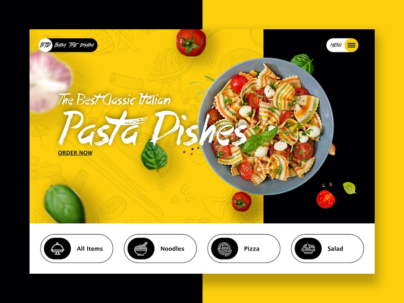 Online Food Order pizza menu noodles salad foodmenu pasta delivery online shop food and drink food app foodie website flat web landingpage minimal ui design ux