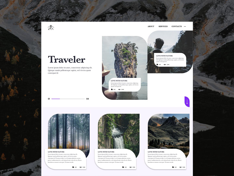 #Traveler - Blogger Website blog blogger travelers landingpage branding web minimal ux design ui