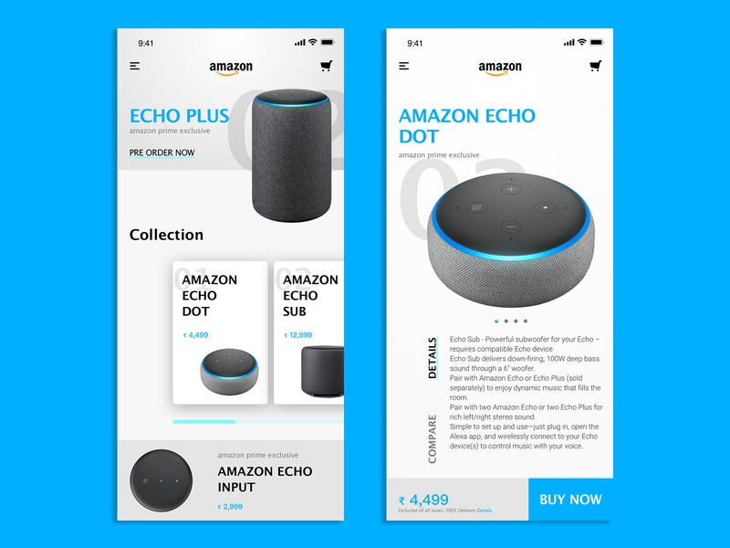 Amazon Echo Products #lightmode app mobileapp minimal ux design ui lightmode products echo amazonapp lightapp