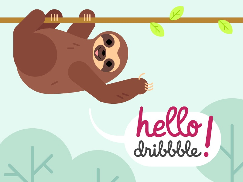 Hello Dribbble hello dribbble sloth animal first shot debut vector illustration