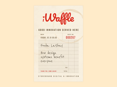 iWaffle Diner Receipt poster innovation reciept diner waffle logo norway norge