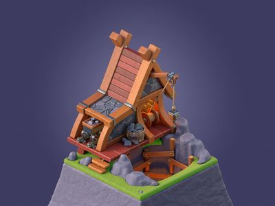 Stone mine cinema4d c4d illustration 3d 3d art purple merger mobile game basin island trolley mining stone mine