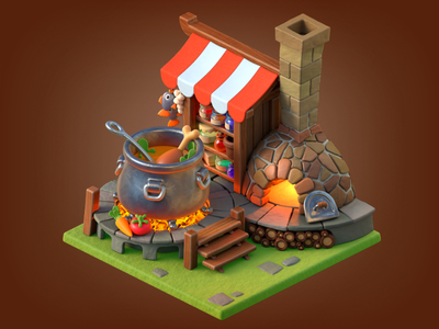 Kitchen c4d 3d illustration magic merger mobile game canopy chimney fire potion fish chicken vegetables logs wood furnace cooking kitchen