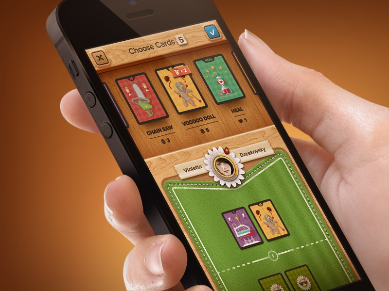 The Card Game Screen skeuomorphism struggle attack ui passion card game cards interface wood green colours
