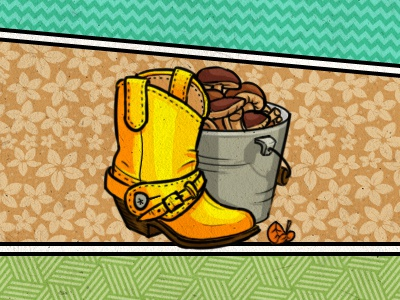 country teaser  country shoe mushrooms bucket leaf