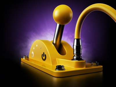 Player teaser#1 onoff switch lever player purple sound metall simple yellow on black