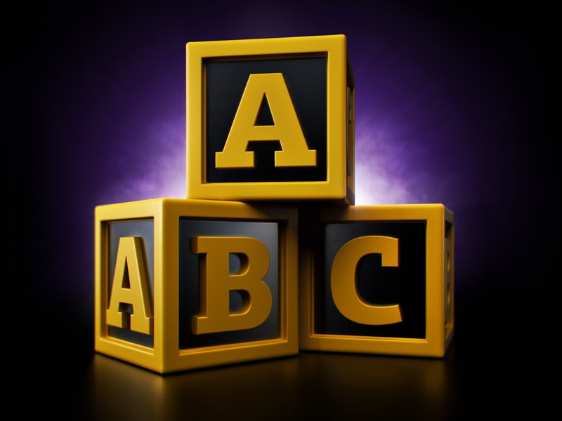 Player teaser#3 alphabet abc cubes player pyramid eyecatcher order teaser simple purple