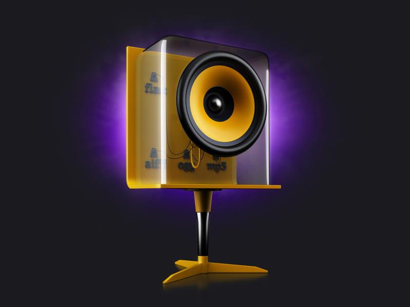 Player teaser#4 sound music mp3 aiff flac ogg wav speaker glass yellow format metall purple multi
