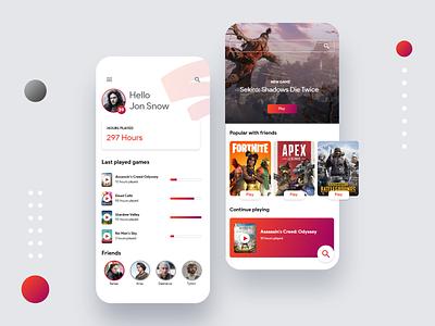 Google Stadia App profile colorful gradient design creative mobile app cloud gaming ux ui cloud games gaming stadia google