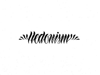 Hedonism lettering blackwhite t-shirt vector