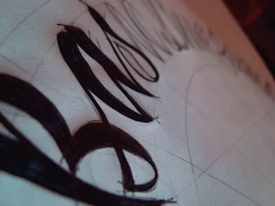 Sketching lettering blackwhite sketch