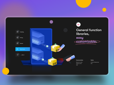 All in One Warehouse Solution - XCloud service dark theme ui mockup ui design landing page web design design warehouse concept illustration ui