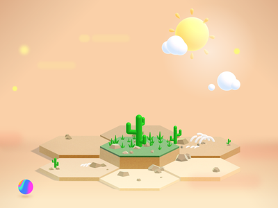 3D Web Environment with Spline desert illustration isometric 3d modeling 3d website spline tool design concept
