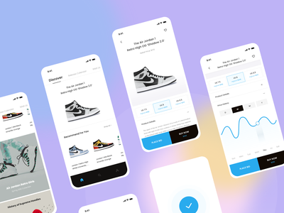 Sneaker App Concept - Buy or Bid mobile app bidding shopping app design app design sneakers concept ui design ux ui