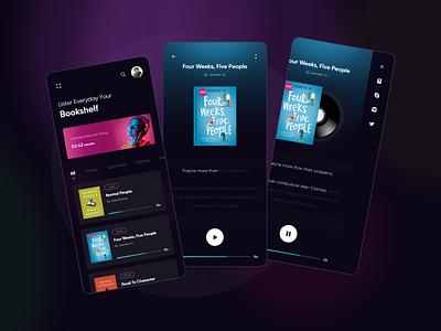 Audio Book (dark theme) - App concept books product design audiobook mobile audio concept ui design ux ui
