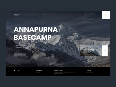 Everest - Walk to the heaven mountain concept hiking trekking ui ux interface travel interaction transition web design after effect website animation ux ui