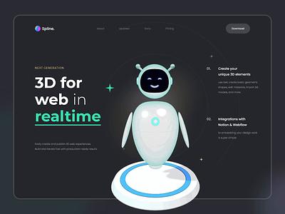 3D Character with Spline - Landing page concept illustration web landing page web interaction motion animation character 3d concept ui design ux ui