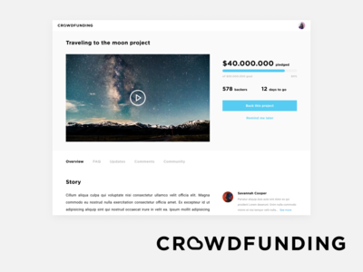 Daily UI  032 Crowdfunding Campaign