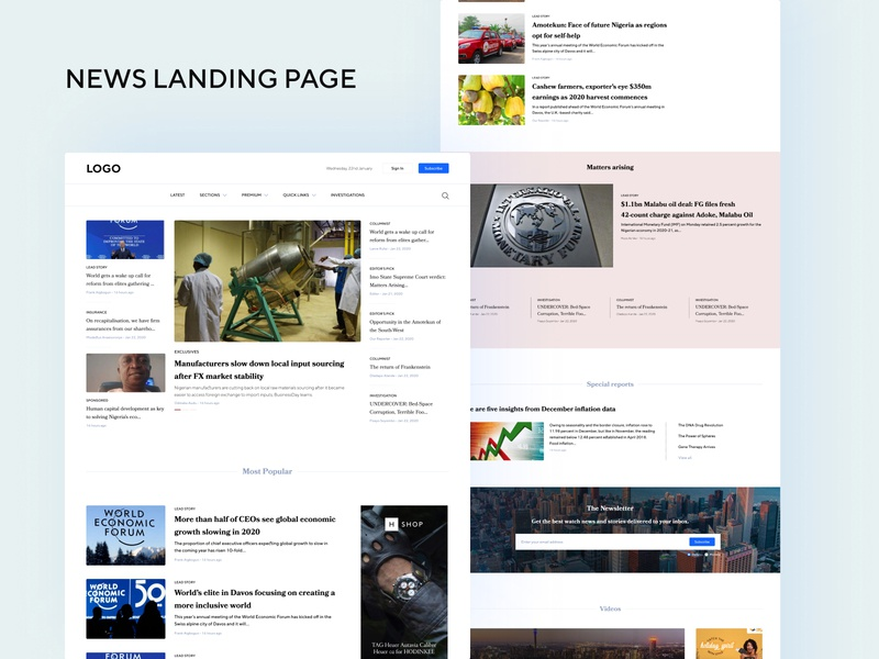 Financial News landing page